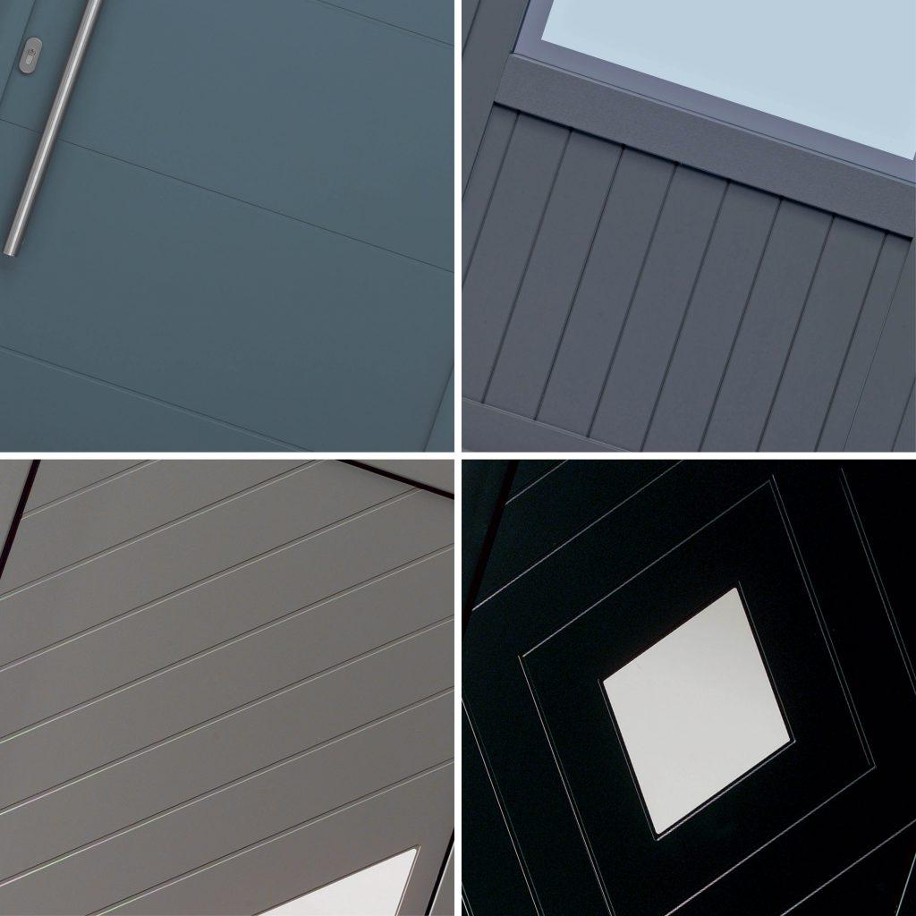 Moderne deuren: rainure-stijl Voor een pvc deur die past bij elke bouwstijl. Je pvc deur wordt gevuld met PU-schuim. Dat geeft je deur een isolatiewaarde: Up < 1,04 W/m2K. Door jou gekozen figuren worden met een groef of rainure in je pvc deur gefreesd. Standaardgroef: 10 mm. 3 mm mogelijk.. Sandwichconstructie met PU-schuim